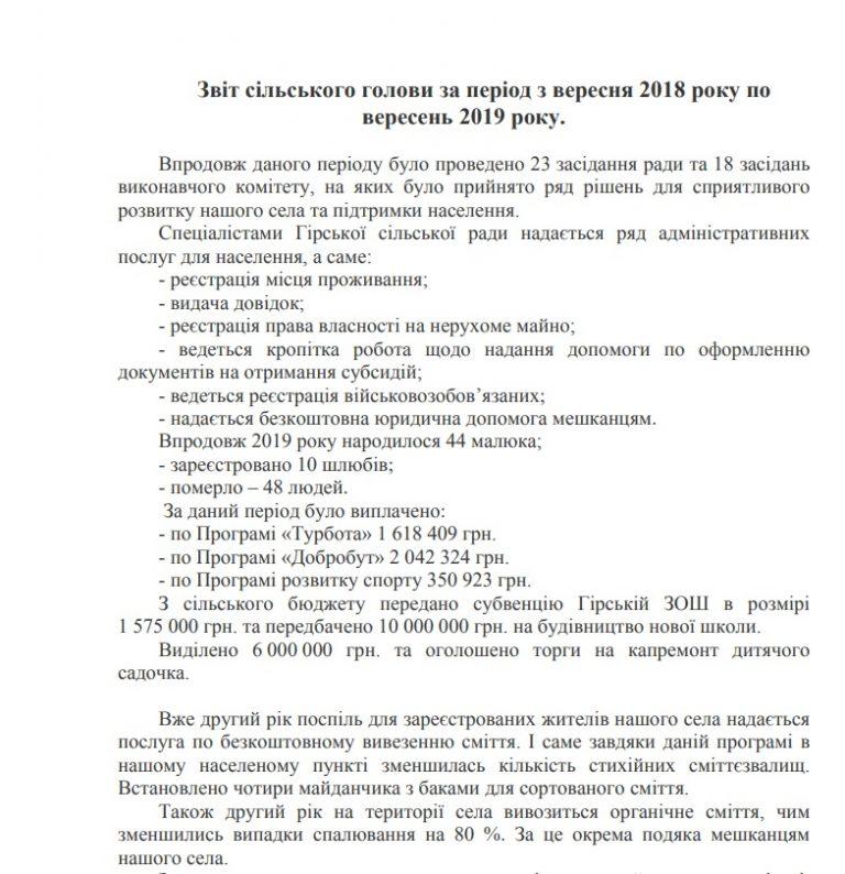 Звіт сільського голови за період з вересня 2018 року по вересень 2019 року