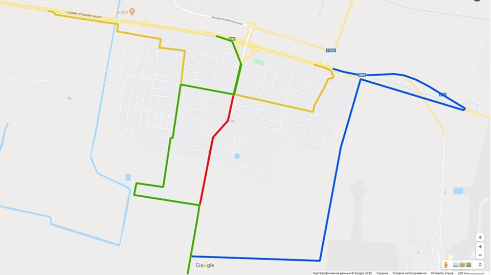 Схема об'їзду частини вул. Центральна на 07.07.2020р